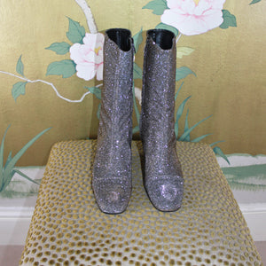 Versatile silver ankle boot long length fitted calf