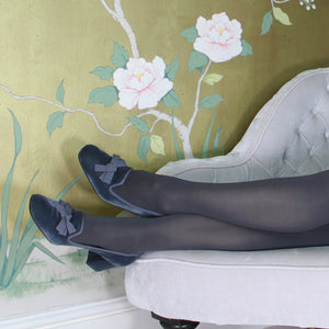 "Grey velvet court shoe with grosgrain trim and 2"" heel"