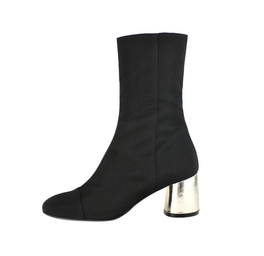 Black fitted ankle boot grosgrain fabric with gold block heel.