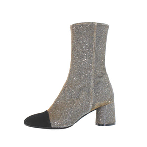 Silver Sparkle Ankle Boot With Black Toe, Long Length - Anita