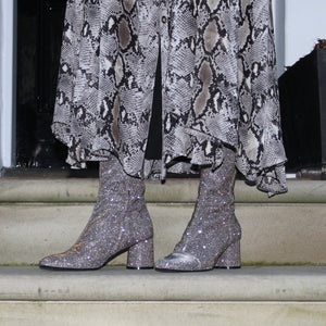 Silver ankle boot fitted long length