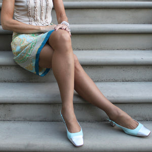Tiffany aqua blue slingback with silver square toe and silver low heel