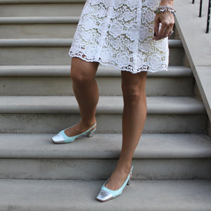 Tiffany blue slingback with silver square toe and silver low heel