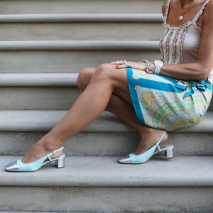 Tiffany blue slingback with silver square toe and silver heel