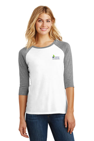 District Made® Ladies Perfect Tri® 3/4-Sleeve Raglan - DM136L