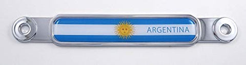 Argentina Flag Chrome Emblem Screw On car License Plate Decal Badge