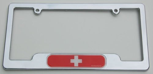 Switzerland Swiss Chrome plated ABS License Plate Frame holder cover with free caps