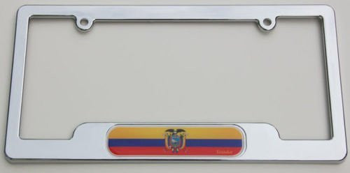 EcuadorChrome plated ABS License Plate Frame holder cover with free caps