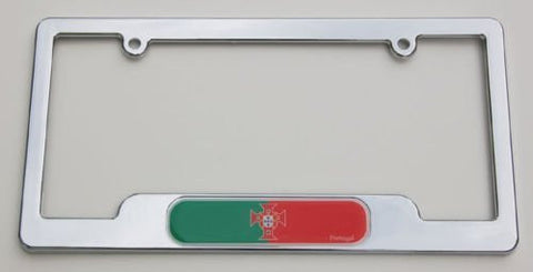 Car Chrome Decals LPFC170 Portugal. Portuguese Chrome License Plate Frame Emblem