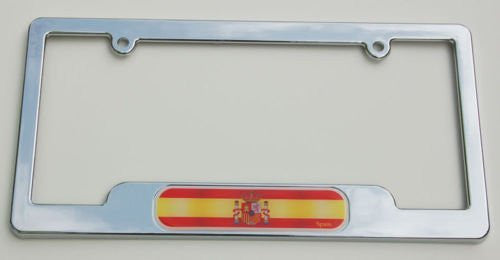 Spain. Spanish Chrome plated ABS License Plate Frame holder cover with free caps