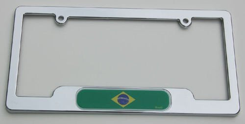 BRAZIL Chrome plated ABS License Plate Frame holder cover with free caps