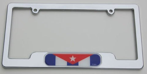 Cuba Chrome Plated ABS License Plate Frame Holder Cuban 3D Decal Free caps