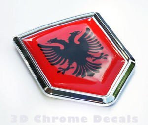 Albania Flag Car Chrome Emblem 3D Decal Sticker Albanian shield crest
