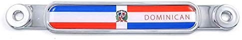 Dominican Republic Flag Chrome Emblem Screw On Car License Plate Decal Badge