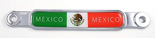 Mexico Mexican Flag Chrome Emblem Screw On car License Plate Decal Badge