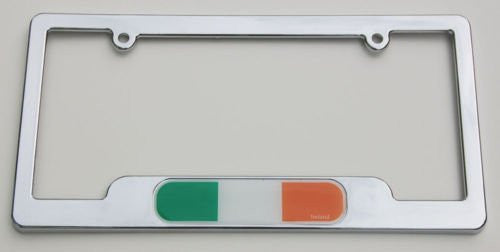 Ireland Irish Chrome plated ABS License Plate Frame holder cover flag with shamrock comes with free caps