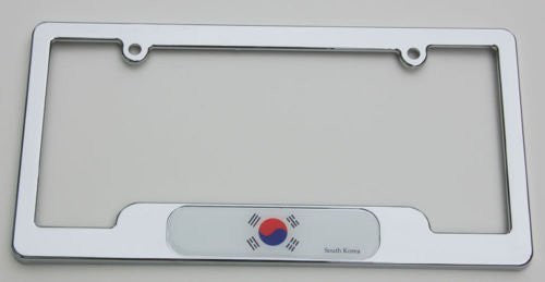 Korea South Chrome plated ABS License Plate Frame holder cover with free caps