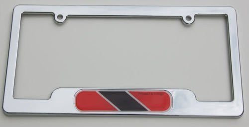 Trinidad and Tobago Chrome License Plate Frame Emblem Free Caps and washer