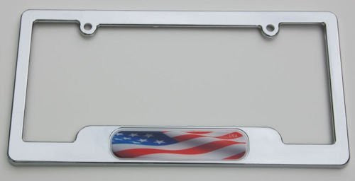 Car Chrome Decals LPFC228 USA American Flag Chrome License Plate Frame holder