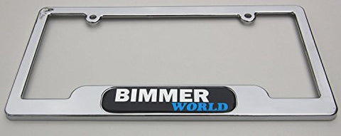 Bimmer World Chrome License Plate Frame Dome Emblem Free caps