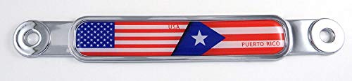 USA Puerto Rico Flag Chrome Emblem Screw On car License Plate Decal Badge