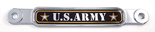 US Army Flag Chrome Emblem Screw On car License Plate Decal Badge
