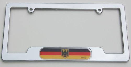 Car Chrome Decals LPFC077 German Chrome License Plate Frame Deutschland plate holder