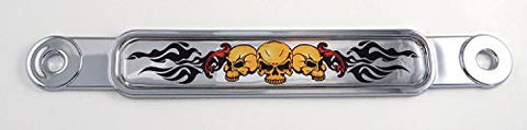 3 Scull with Flames Flag Chrome Emblem Screw On car License Plate Decal Badge