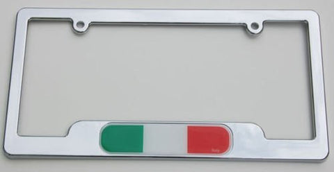 Car Chrome Decals LPFC101 Italy Italian Flag Chrome License Plate Frame holder