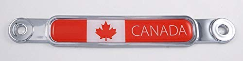 Canada Flag Chrome Emblem Screw On Car License Plate Decal Badge