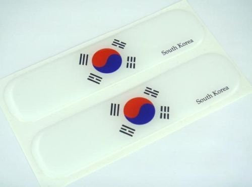 "South Korea, Korean Flag Domed Decal Emblem Car Flexible Sticker 5"" Set of 2"