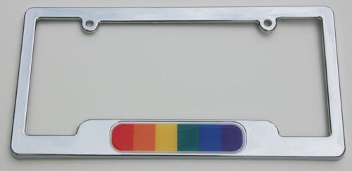 Pride Gay Lesbian Chrome plated ABS License Plate Frame 3D Emblem Free caps