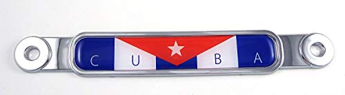 Cuba Cuban Flag Chrome Emblem Screw On Car License Plate Decal Badge