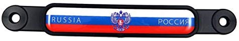 Russia Russian Flag Emblem Screw On Car License Plate Decal Badge