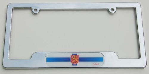 Finland Finish Chrome plated ABS License Plate Frame holder cover with free caps