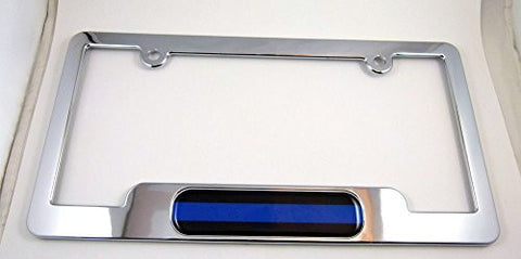 Car Chrome Decals LPFC-BLINE Police ABS Chrome Plated License Plate Frame free caps and washers blue line