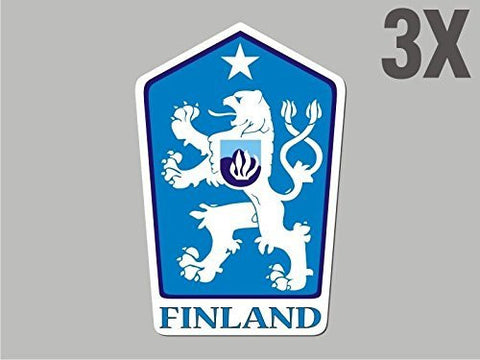 3 Finland shaped stickers flag crest decal bumper car bike emblem vinyl CN012