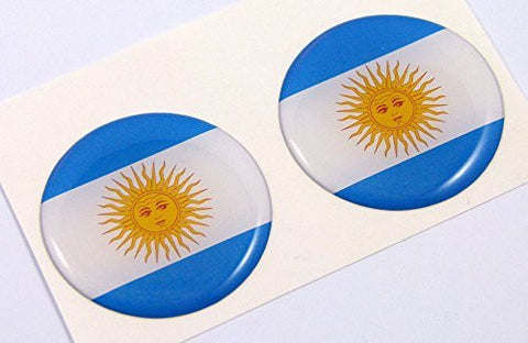 "Argentina flag Round domed decal 2 emblems. Car bike laptop stickers 1.45"" PAIR"