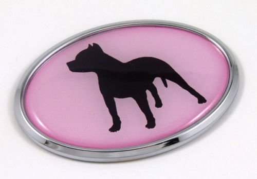 Pit Bull Dog Pink Breeds 3D Chrome Emblem Pet Decal Car Auto Bike Truck Sticker