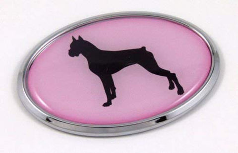 Boxer Pink Dog Chrome Emblem Pet Decal Car Auto Bike Truck Oval Sticker