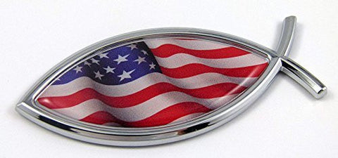 Car Chrome Decals CBFSH228 Jesus Fish USA Flag American Car bike Auto Chrome Emblem Decal Sticker Christian