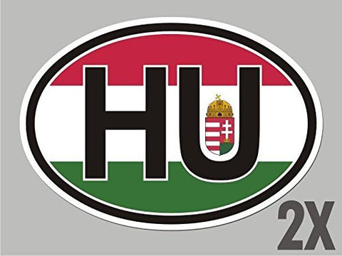 2 Hungary HU OVAL stickers flag decal bumper car bike emblem CL078