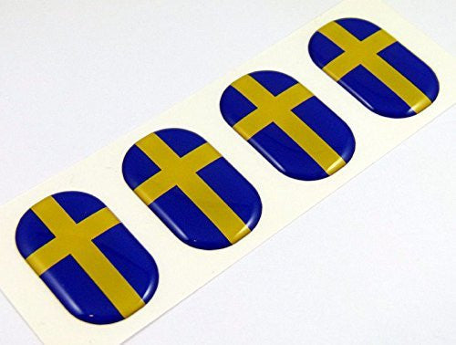 "Sweden midi Swedish domed decals flag 4 emblems 1.5"" Car bike laptop stickers"