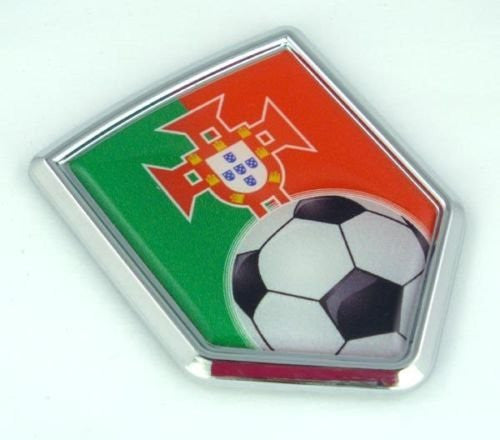 Portugal Portuguese Flag Car Chrome Emblem Sticker with Soccer ball