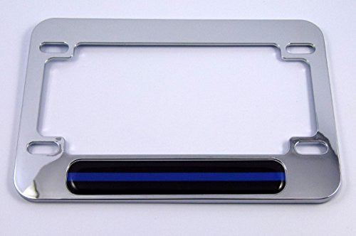 Police thin blue line flag Motorcycle Bike ABS Chrome Plated License Plate Frame