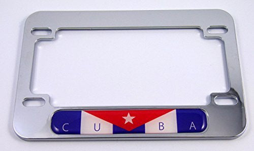 Cuba Cuban flag Motorcycle Bike ABS Chrome Plated License Plate Frame