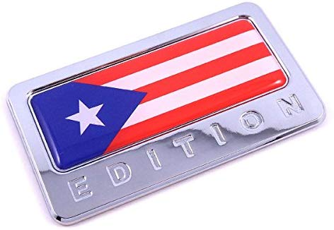 Puerto Rico Edition Chrome Emblem Puerto Rican Flag 3D Decal Car Bike Badge