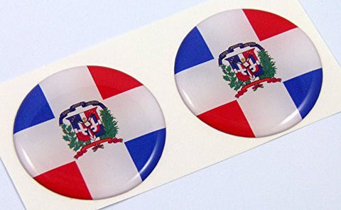"Dominican Republic flag Round domed decal 2 emblems Car bike stickers 1.45"" PAIR"