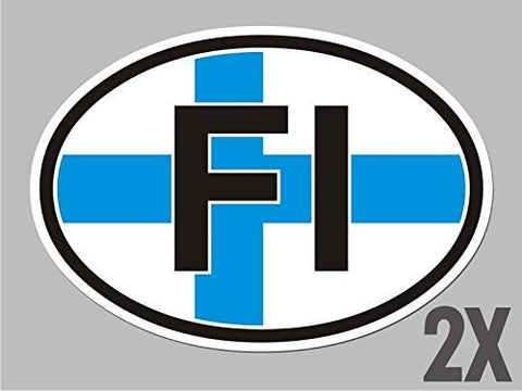 2 Finland FI Finish OVAL stickers flag decal bumper car bike emblem vinyl CL018