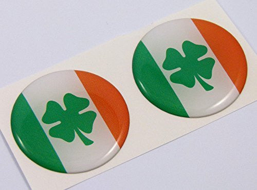 "Ireland Irish flag Round domed decal 2 emblem Car bike stickers 1.45"" PAIR"